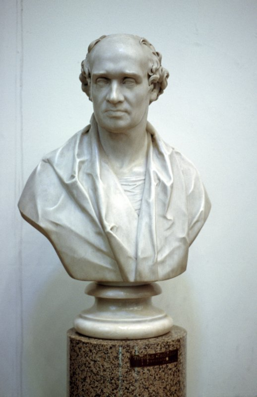 View of bust of Lord Hume, in Parliament Hall. (Placed on pedestal incorrectly labelled Thomas Thomson.)