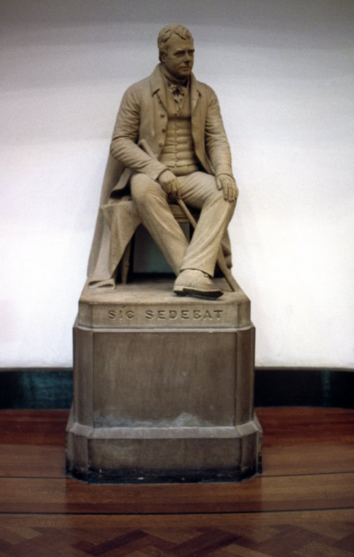 View of statue of Sir Walter Scott, in Parliament Hall.