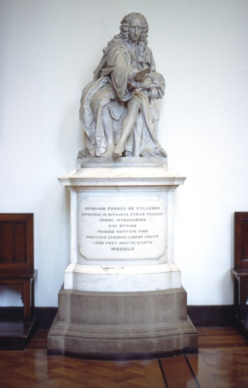 View of statue of Duncan Forbes of Culloden, in Parliament Hall.