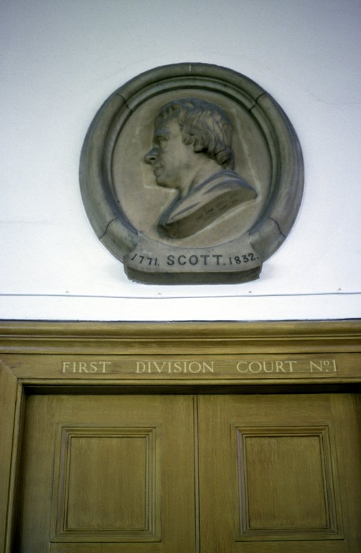 View of medallion portrait bust of Sir Walter Scott, above entrance to Court No.1.