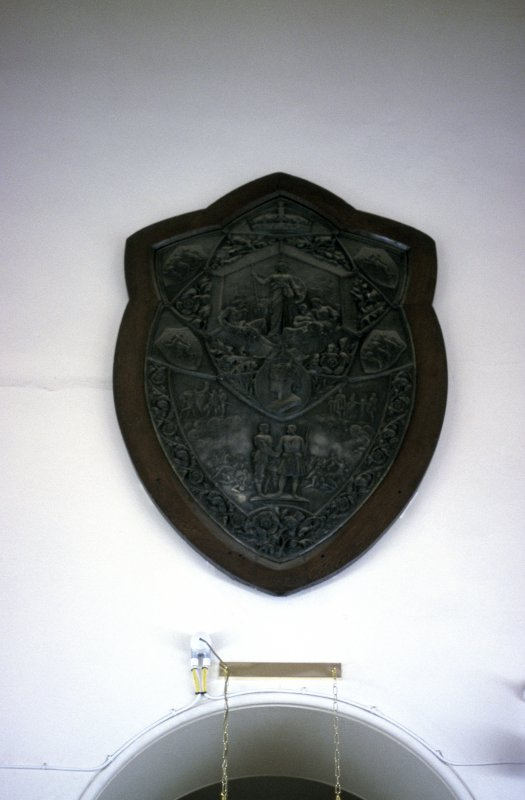 View of model of the Elcho Challenge Shield, above N door of box corridor.