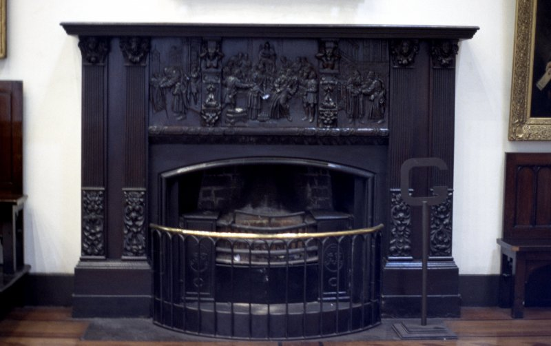 View of fire surround carved with scenes from The Merchant of Venice, in Parliament Hall.