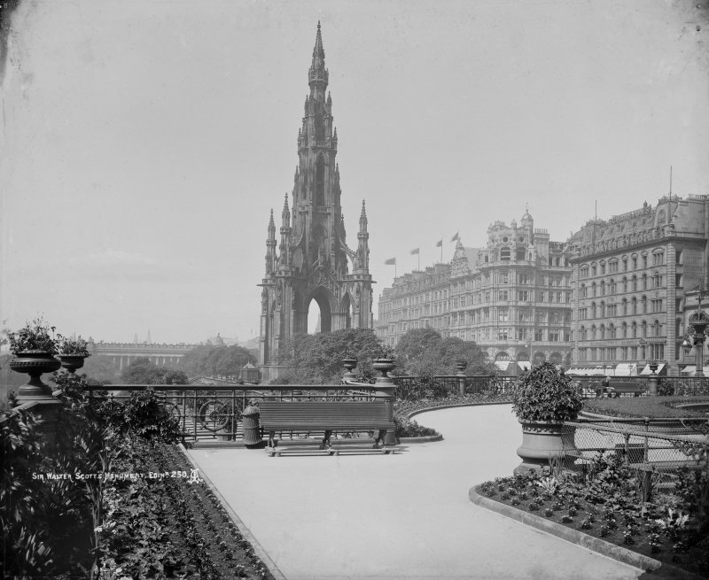 View from east showing Scott Monument and part of Princes Street insc: 'Sir Walter Scott's Monument, Edinr. 250.'