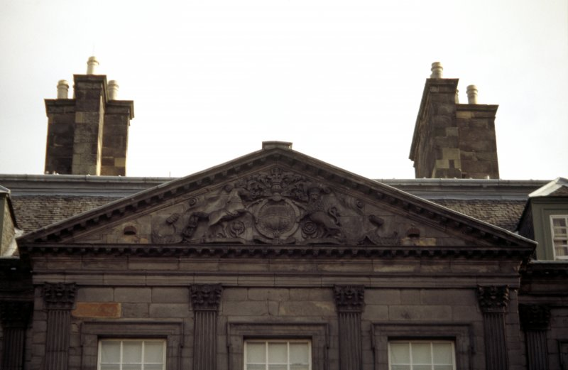 View of Arms of Charles II, in tympanum on E side of courtyard of Palace.