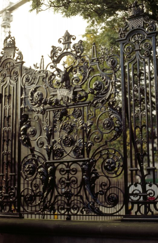 View of detail of railings around forecourt of Palace of Holyroodhouse (part of Memorial to Edward VII).