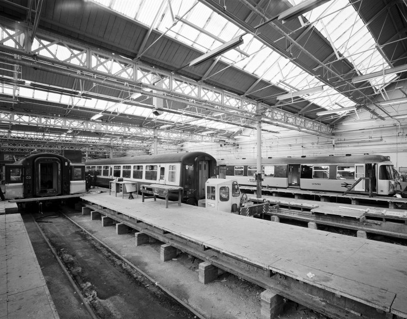 Interior view of St Rollox Locomotive Works, Springburn, Glasgow, from South-East in carriage body repair shop.