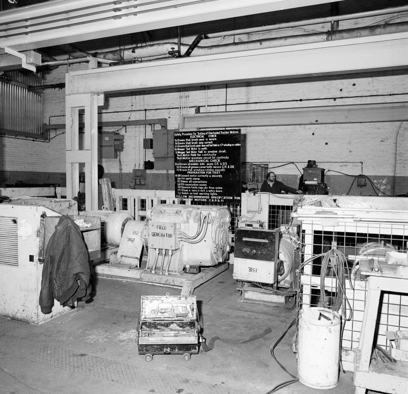 Glasgow, Springburn, St Rollox Locomotive Works, interior. View of electrical traction motor testing department.