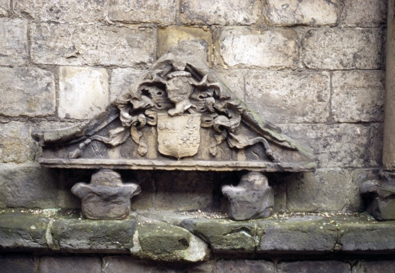 View of coat of arms of Graham and Stewart, aginst inside of N wall of Holyrood Abbey..