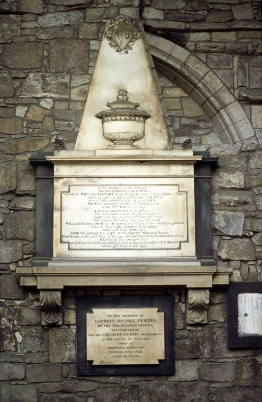View of monument to Euphemia Stewart, on inside of S wall of Holyrood Abbey.