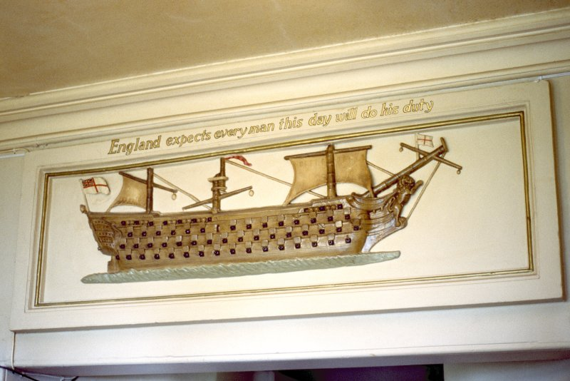 View of ship model relief (central one of three), on upper walls inside Nelson Monument.