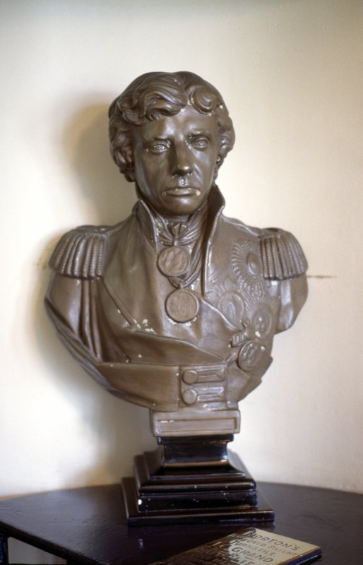 View of bust of Horatio Nelson, by turnstyle on ground floor inside Nelson Monument.