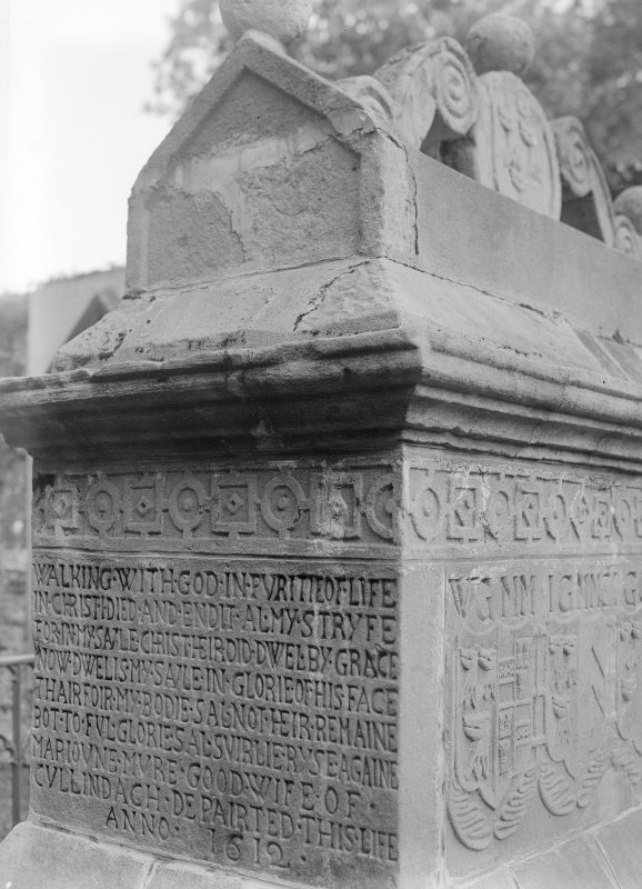 Detail of Gordon tomb, Anwoth Church. Caption on the back of print: 'Anwoth Kirk. Monument N side. No 5'