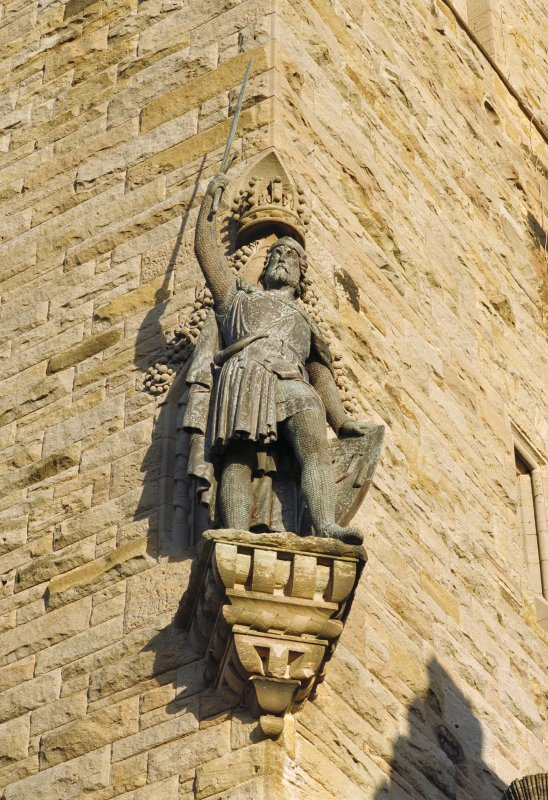 View of statue of Wallace at south west corner of Wallace Monument tower, Stirling.