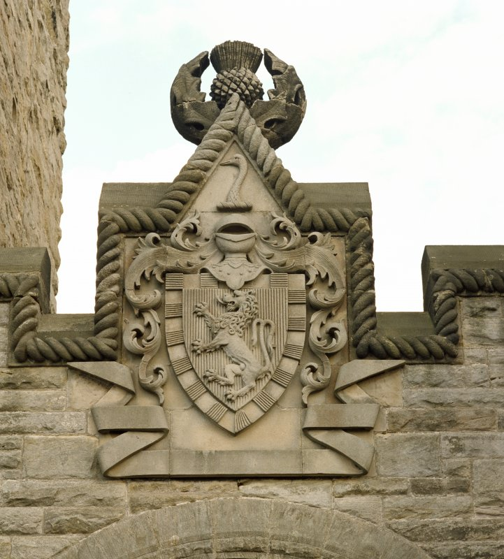 Detail of armorial above main entrance at the Wallace Monument, Stirling.