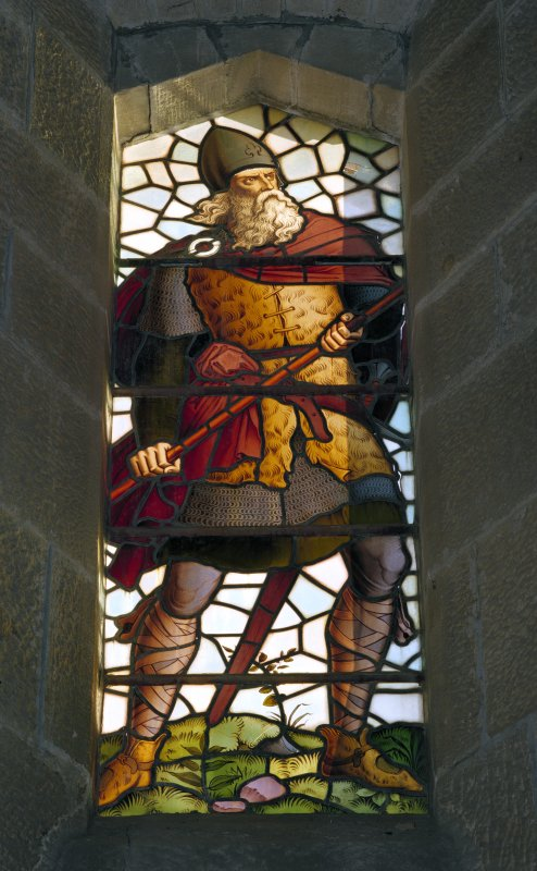 Interior of Wallace Monument, Stirling. 2nd. floor, exhibition room, detail of stained glass window