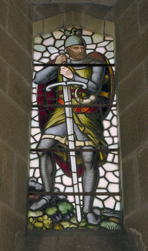 Interior view of the Wallace Monument, Stirling, showing detail of stained glass window in second floor exhibition room.