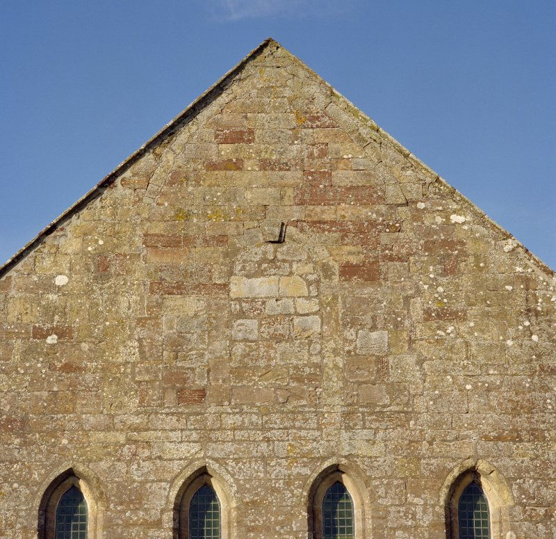 Fearn Abbey.  Detail of East gable showing blocked venetian window.