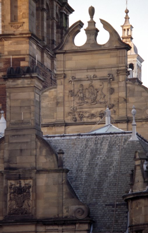 View of part of S facade of New Craig, showing coat of arms of Edinburgh.