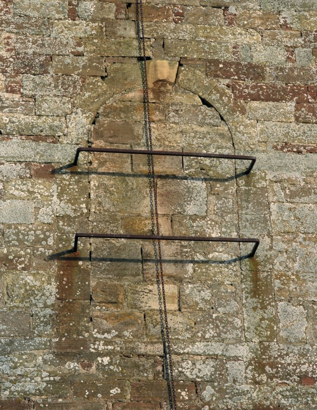 Fearn Abbey.  Detail of blocked window and bell chain on West gable.