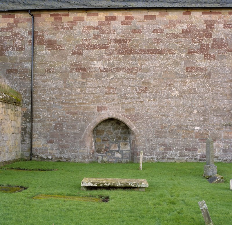 Fearn Abbey.  View of North wall showing blocked doorway.
