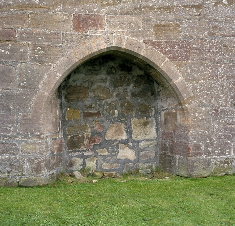 Fearn Abbey.  Detail of blocked doorway in North wall.