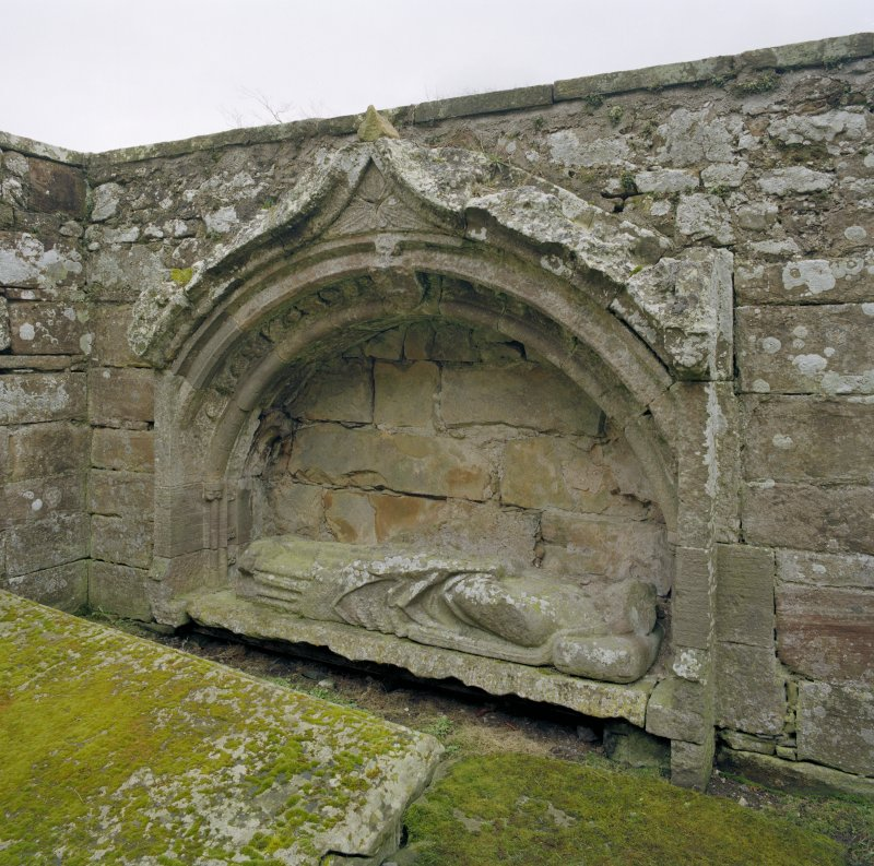 Fearn Abbey.  St. Michael's aisle, view of mural tomb with effigy of Abbot Finlay (d.1385) set into South wall.