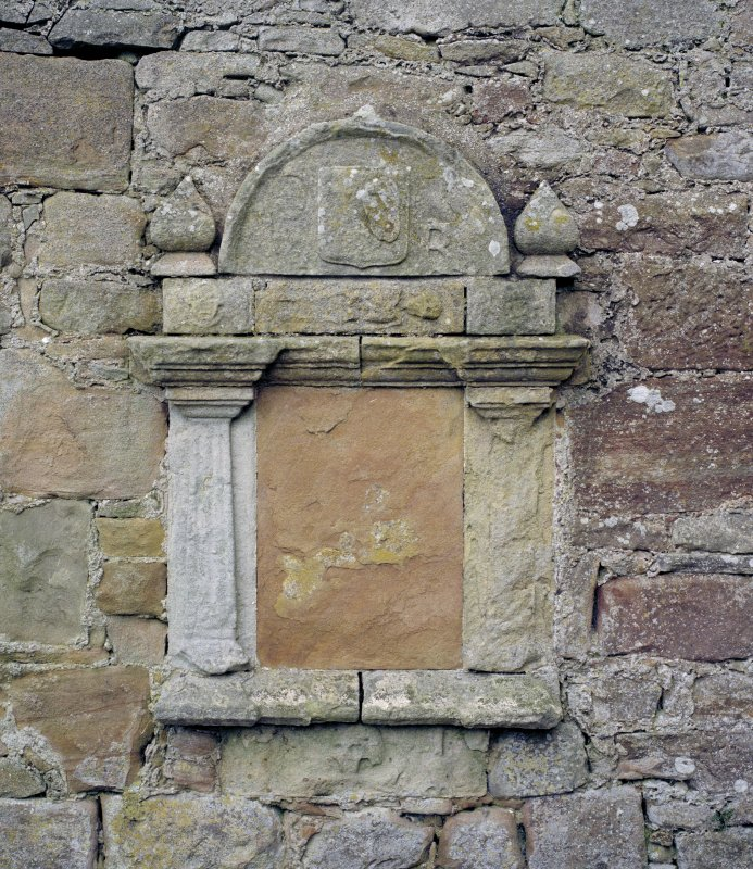Fearn Abbey.  St. Michael,s aisle, detail of carved panel on West wall.