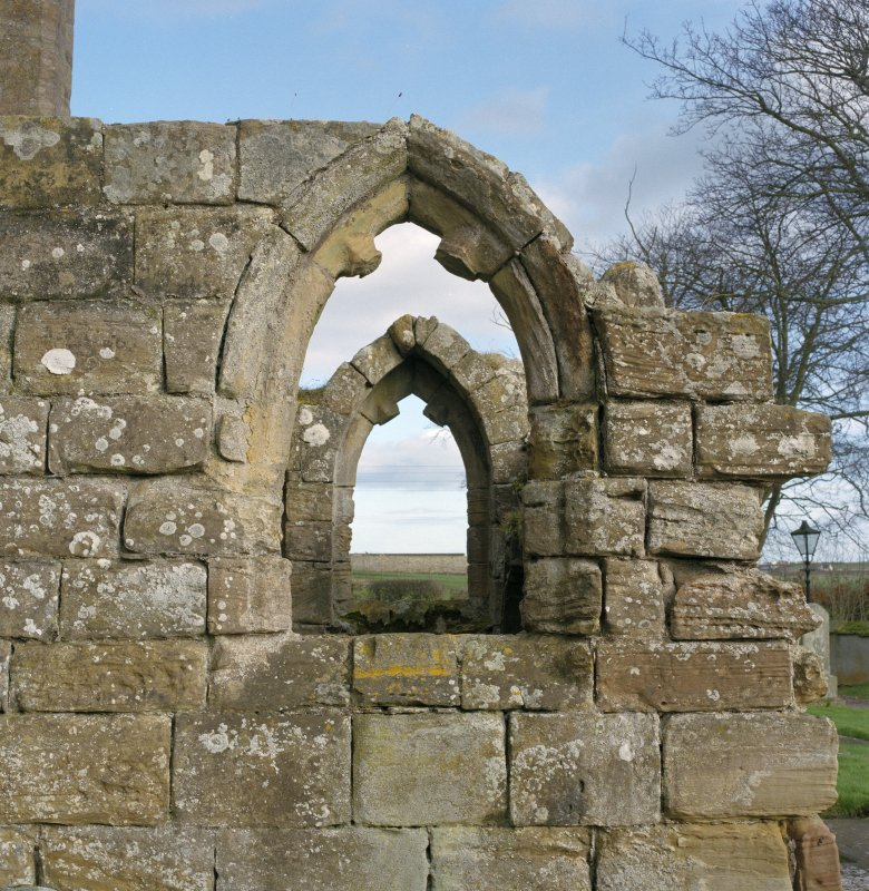Fearn Abbey.  South East aisle, detail of West window from West.
