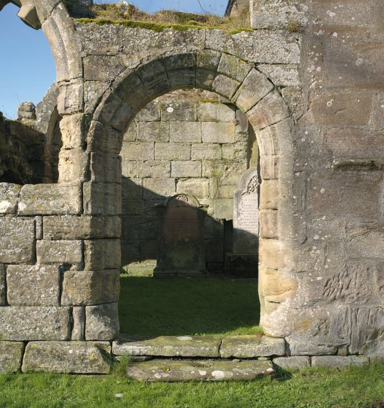 Fearn Abbey.  South East aisle, view of doorway from East.