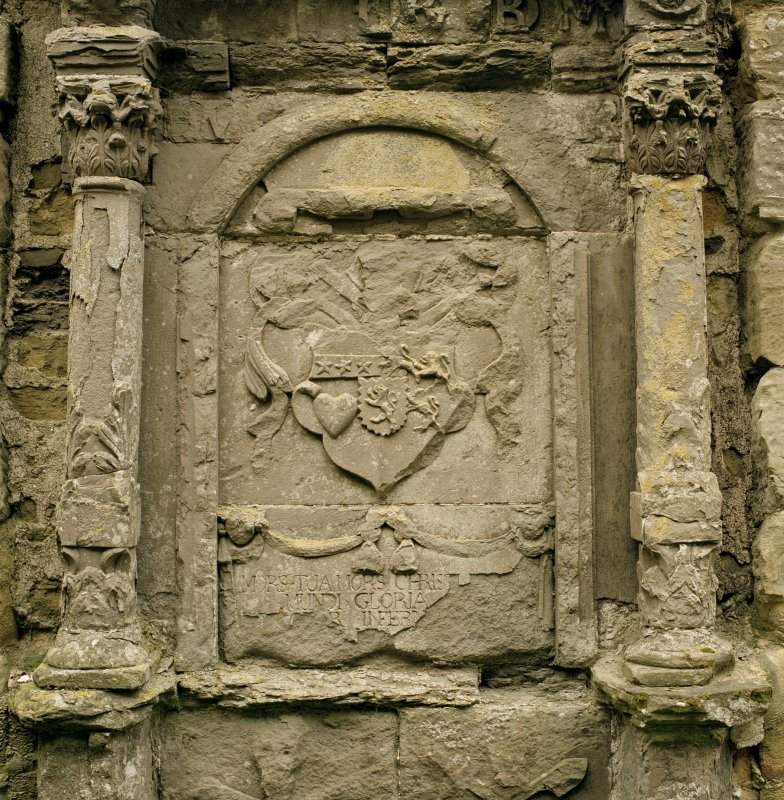 Fearn Abbey.  Ross aisle, detail of central panel of mural monument on North wall.