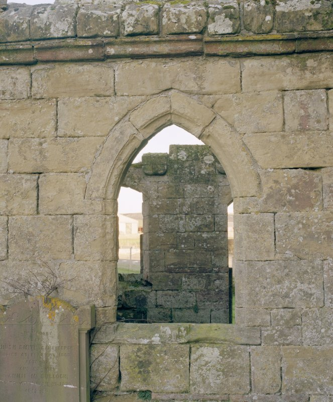 Fearn Abbey.  Ross aisle, detail of West window from West.