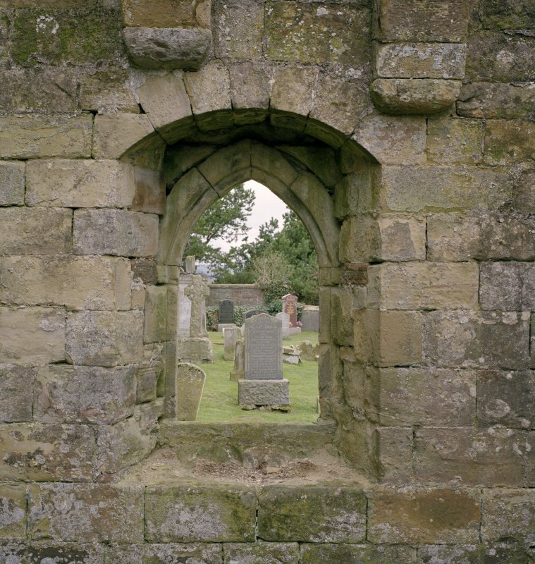 Fearn Abbey.  Ross aisle, detail of West window from East.