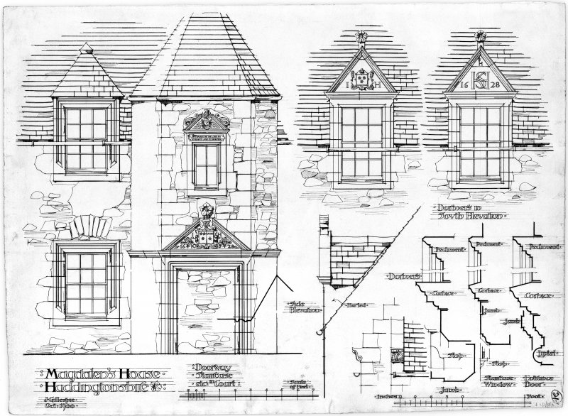 Drawing showing details of Hamilton House, Prestonpans (also known as Magdalen's House).