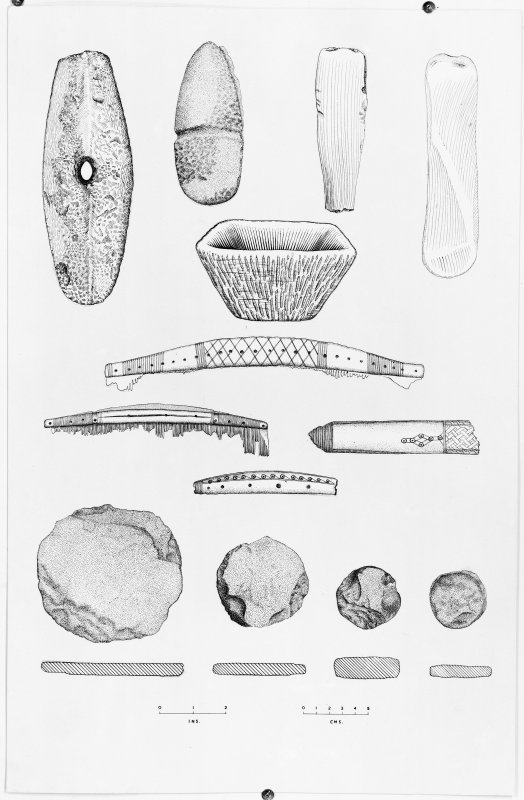 Drawings of excavation finds from Jarlshof in 1952.