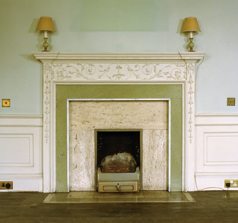 Interior. Ground floor, dining room, detail of fireplace.
