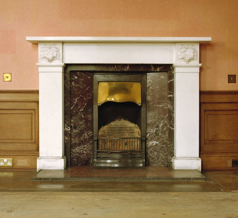 Interior. Ground floor, drawing room, detail of fireplace.