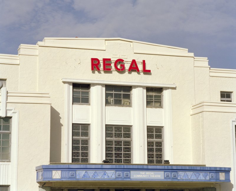 Detail of REGAL sign above main entrance to the Regal Cinema, Bathgate.