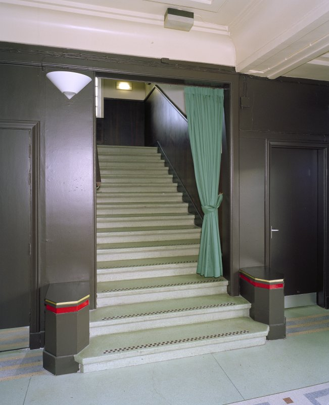 Interior. Foyer, E staircase, view from W