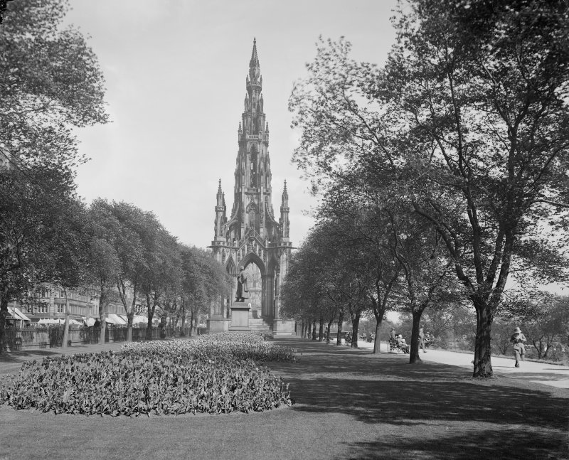 View from west showing Scott Monument and garden