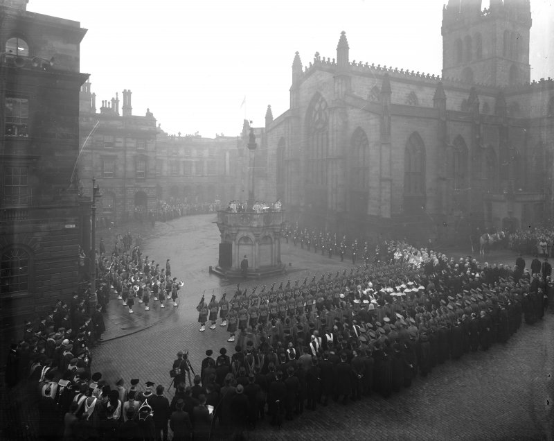 Proclamation of the Accession of King George VI in Edinburgh. From left to right on Mercat cross, Captain HAB Lawson, Unicorn Pursuivant, Thomas Innes of Learney, Albany Herald, Sir Francis Grant, Lord Lyon King of Arms, Sir Alexander Hay Seton of Abercorn, Carrick Pursivant and Lt. Col. JW Balfour Paul, Falkland Pursuivant.Ceremony  in Parliament SquareProclamation of the Accession of King George VI.