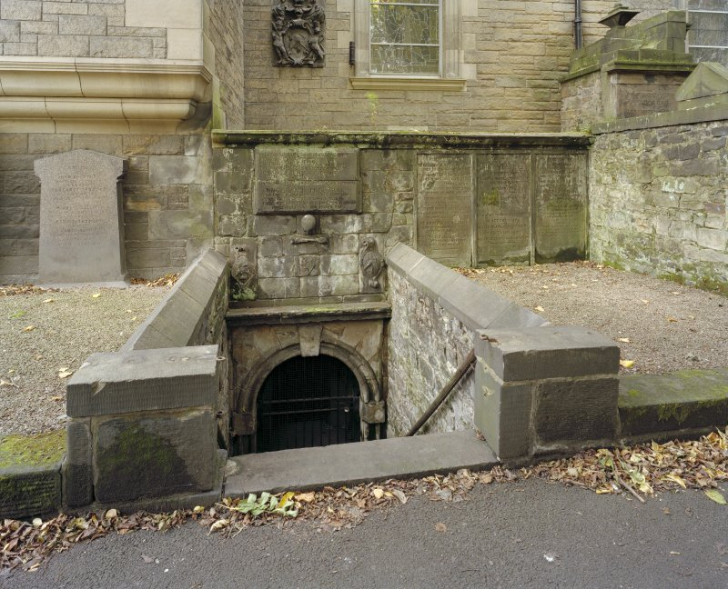 View of entrance to Nisbet of Dean vault (1692) to north transept