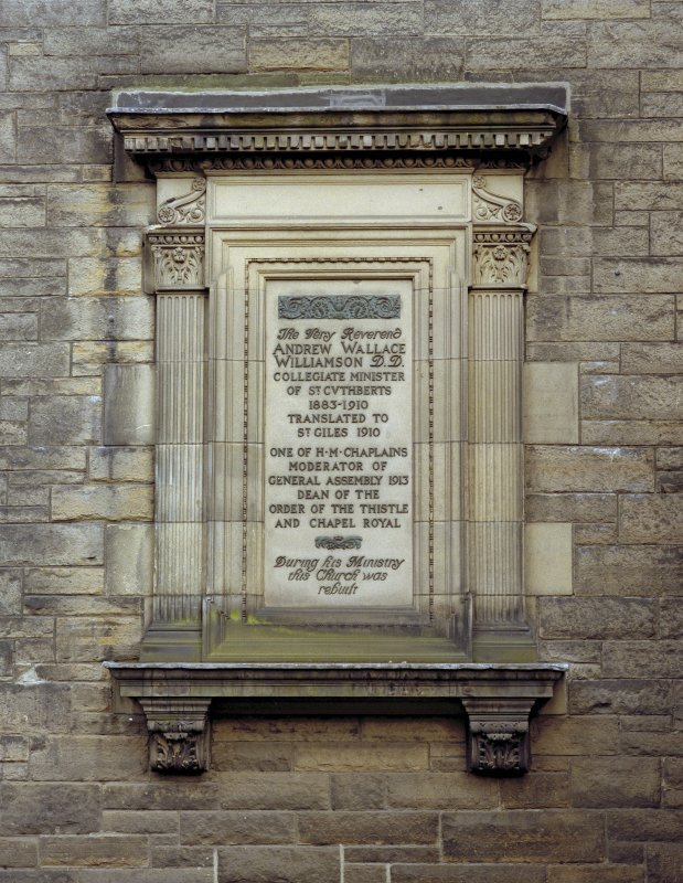 View of memorial to Rev. Andrew Wallace Williamson on west front