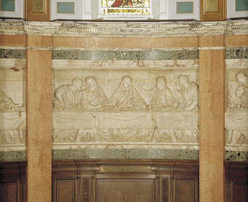 Interior, detail of central panel of chancel frieze