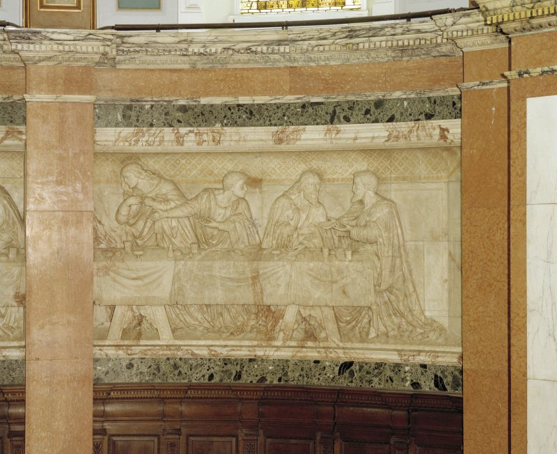 Interior, detail of right hand panel of chancel frieze