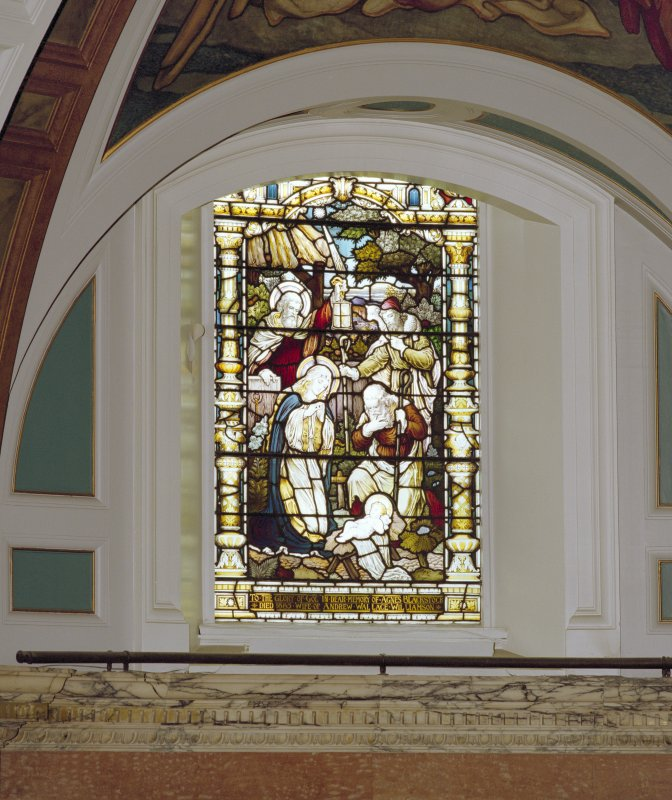 Interior, detail of left hand stained glass window in chancel