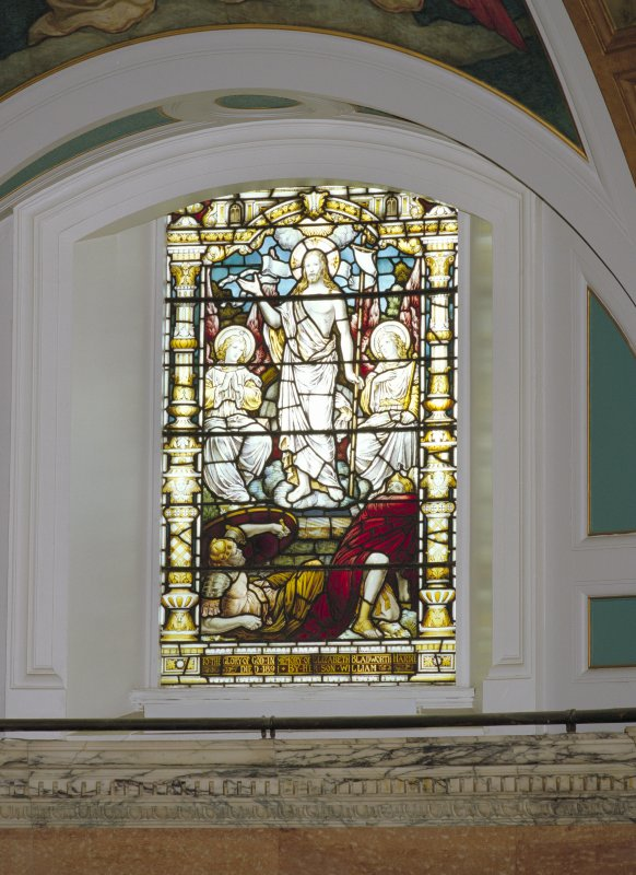 Interior, detail of right hand stained glass window in chancel