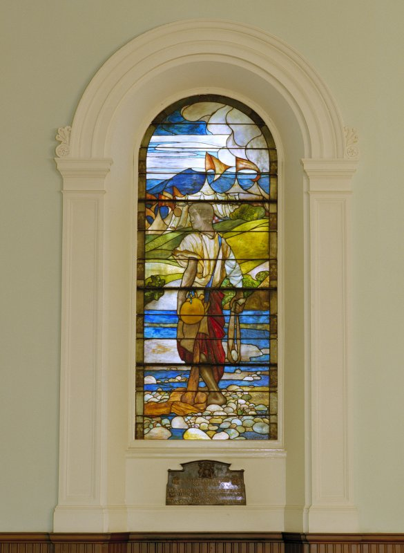Interior of St Cuthbert's Church, Lothian Road, Edinburgh, balcony level, view of Tiffany stained glass window on north wall