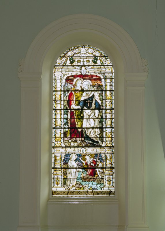 Interior, balcony level, view of stained glass window on south wall