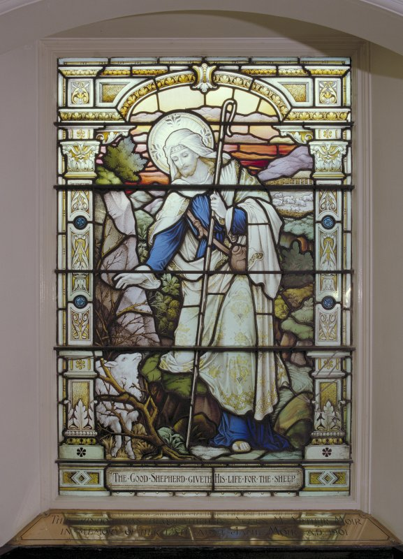 Interior, ground floor, Lammermuir hall, detail of stained glass window in south wall