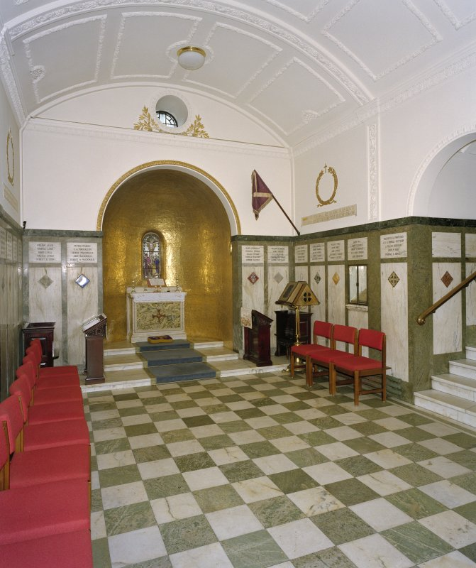 Interior, war memorial chapel, view from south